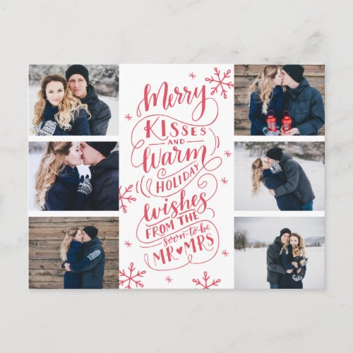 Merry Kisses Warm Wishes Save Date 6- Photo Announcement Postcard