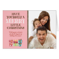 ...Merry Little Christmas Holiday Card (pink)