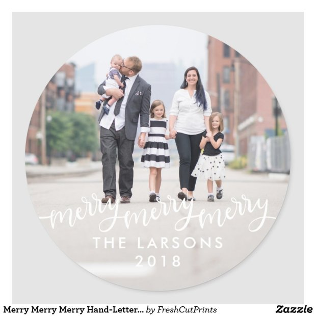 Merry Merry Merry Hand-Lettered Holiday Photo Classic Round Sticker