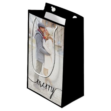 Merry Script Custom Photo Gift Bag / Black