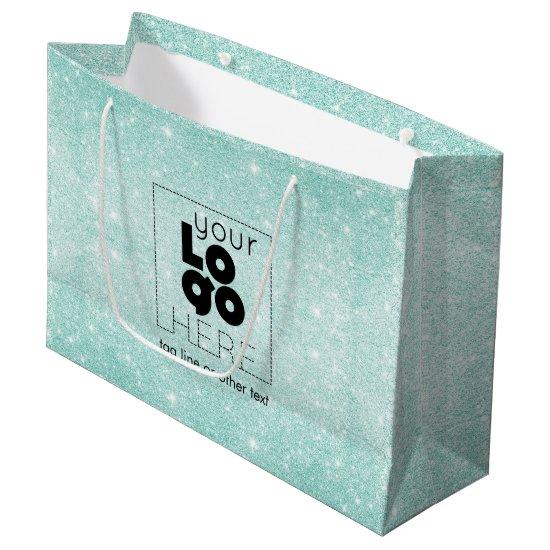 Metallic Aqua Blue Glitter Logo Paper Shopping Bag