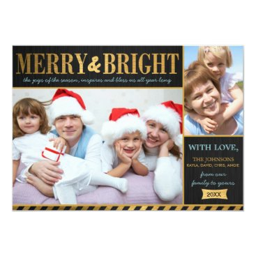 Metallic Gold Merry and Bright Holiday Card