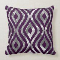 Metallic Silver And Purple Geometric Pattern Throw Pillow ...