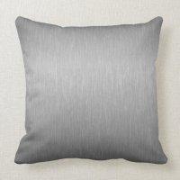 Metallic Silver Gray Brushed Aluminum Look Pillow | Zazzle