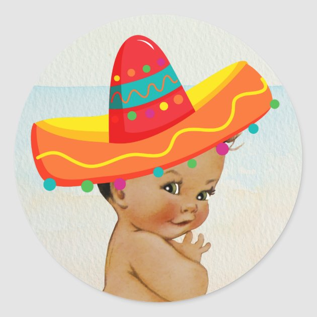 Mexican Baby Shower Sticker with Vintage Baby  Zazzlecom