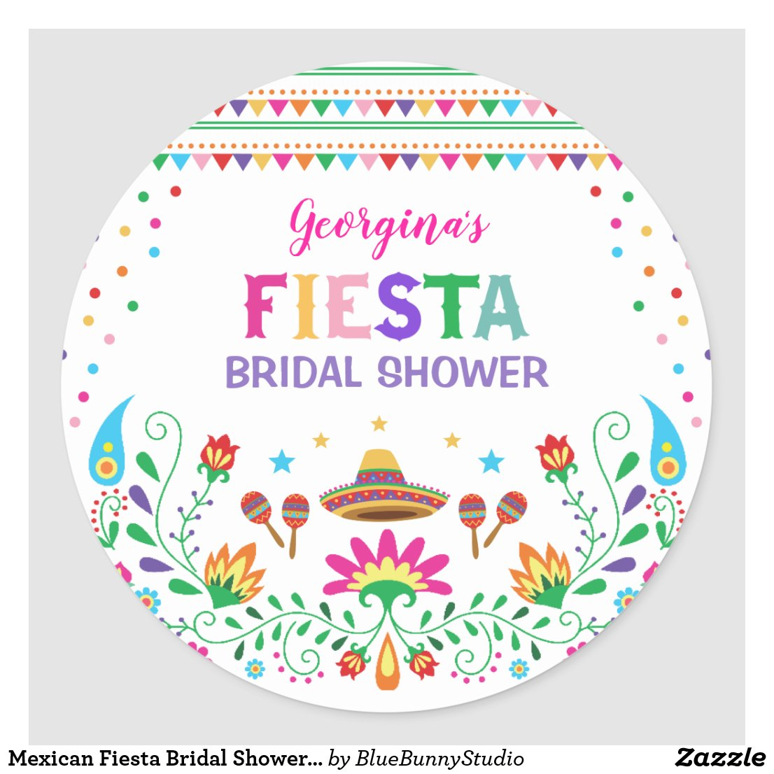 Mexican Fiesta Bridal Shower Party Decor Classic Round Sticker