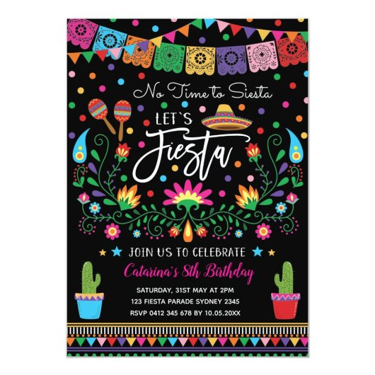 Mexican Fiesta Cinco De Mayo Birthday Party Invite