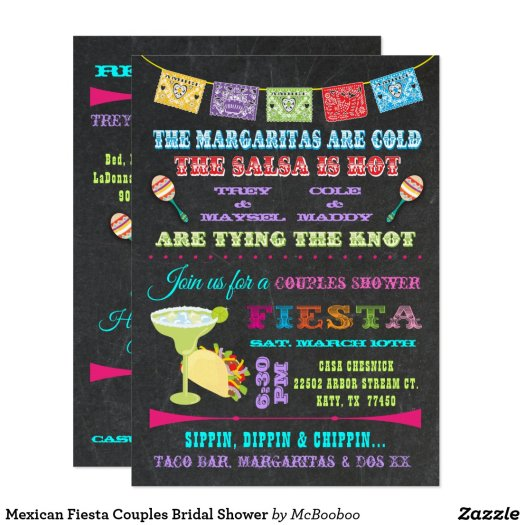 Mexican Fiesta Couples Bridal Shower Card
