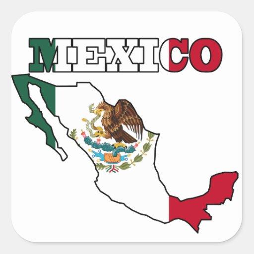 Mexico Flag in Map Square Sticker Zazzle