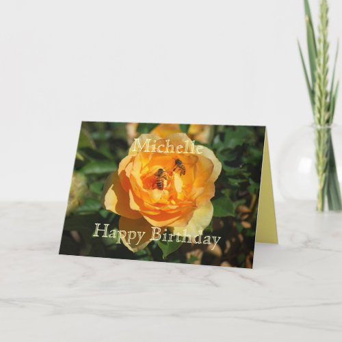 Michelle Happy Birthday Yellow Rose With Honeybees card