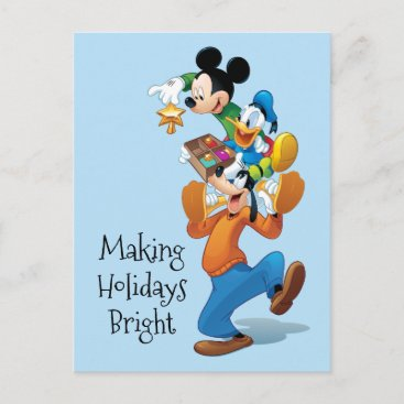 Mickey And Friends | Mickey Decorating The Tree Holiday Postcard