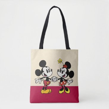 Mickey and Minnie Holding Hands Tote Bag