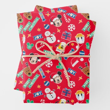 Mickey & Friends Red Merry Christmas Icon Pattern Wrapping Paper Sheets