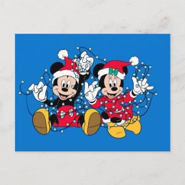 Mickey & Minnie  Christmas Lights Holiday Postcard