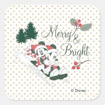 Mickey & Minnie | Merry & Bright Square Sticker