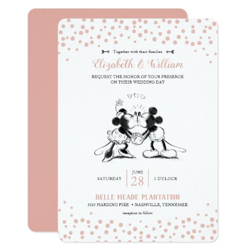 Mickey &amp&#x3B; Minnie | Pink Confetti Wedding Invitation