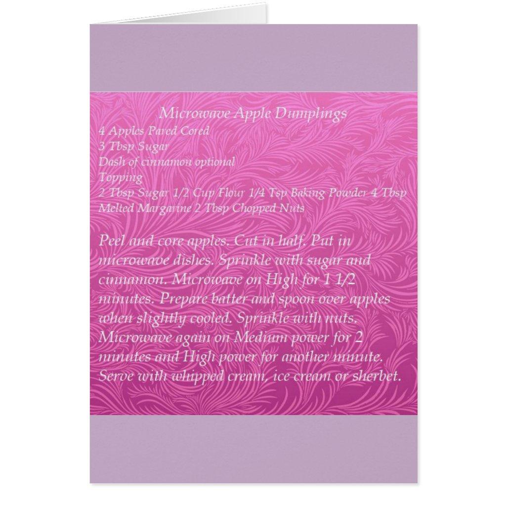 Microwave Apple Dumplings Recipe Greeting Card