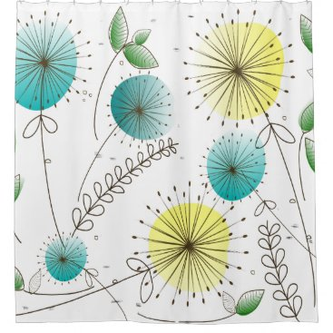 Mid-Century Dandelion Clocks Yellow and Blue Shower Curtain