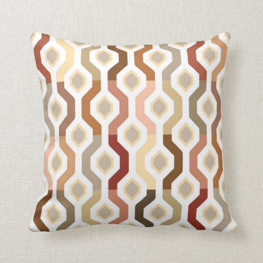 Mid Century Mod Fall Geometric Link Pattern Throw Pillow