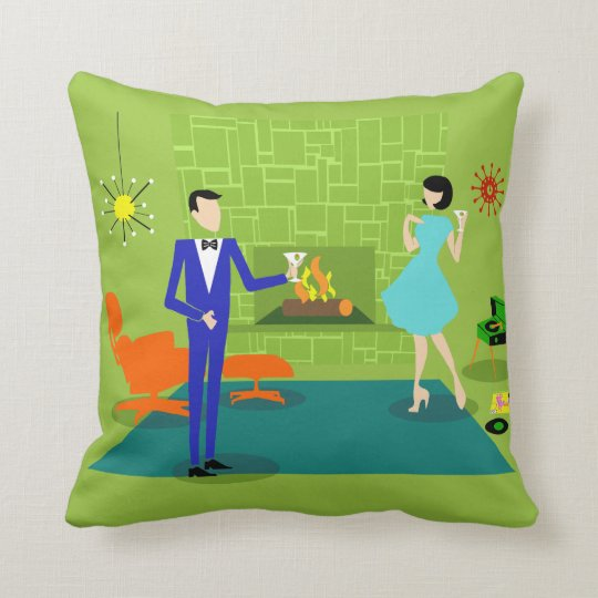 Mid Century Modern Couple Throw Pillow  Zazzlecom