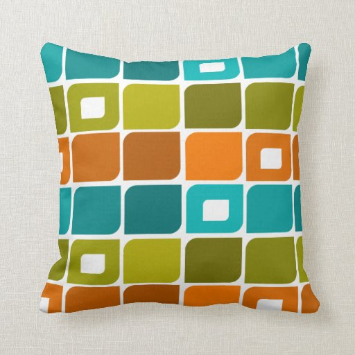 MidCentury Modern Geometric Pattern Throw Pillow  Zazzle