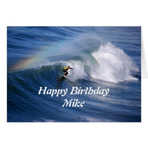 Mike Happy Birthday Surfer With Rainbow Greeting Card