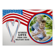 Military Patriotic Candycane Heart Card