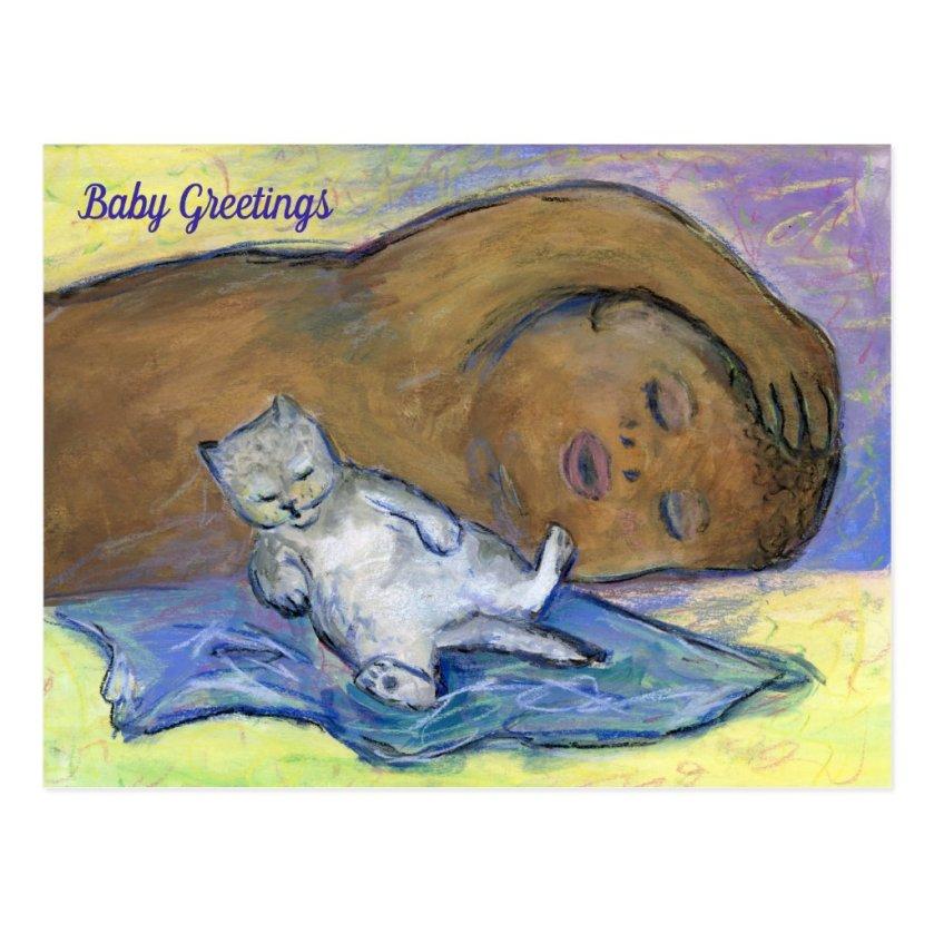 Milk Drunk Babies Greeting Custom Cat Postcards