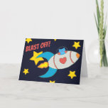 Milo Cat Space Rocket Fantastic Fabulous Day Card