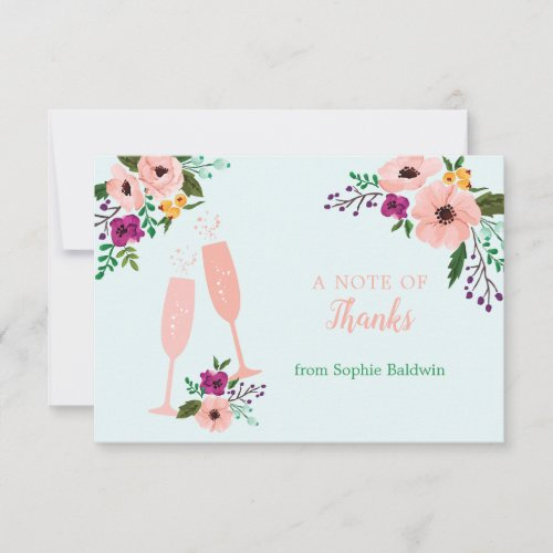 Mimosa and Flowers Brunch and Bubbly Bridal Shower Thank You Card