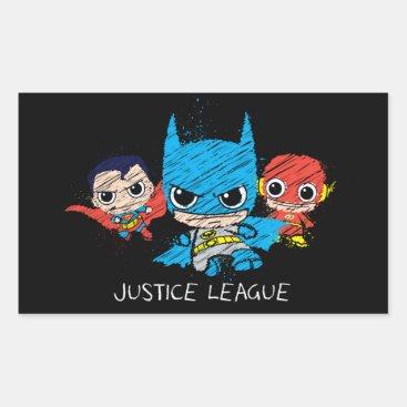 Mini Justice League Sketch Rectangular Sticker