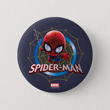 Mini Stylized Spider-Man in Web Pinback Button