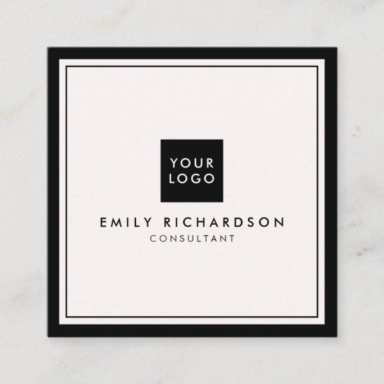 Minimalist elegant plain pink black add your logo square business card