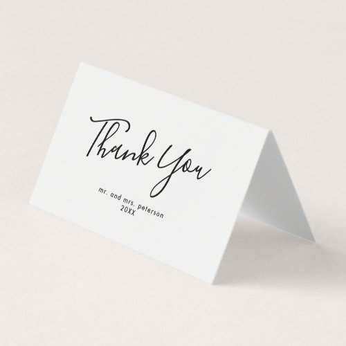 Minimalist Script Wedding Thank You Card