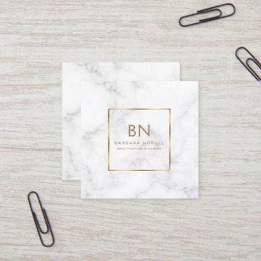 Minimalist White Marble Gold Monogram Square Business Card