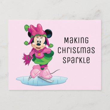 Minnie Ice Skating Holiday Postcard