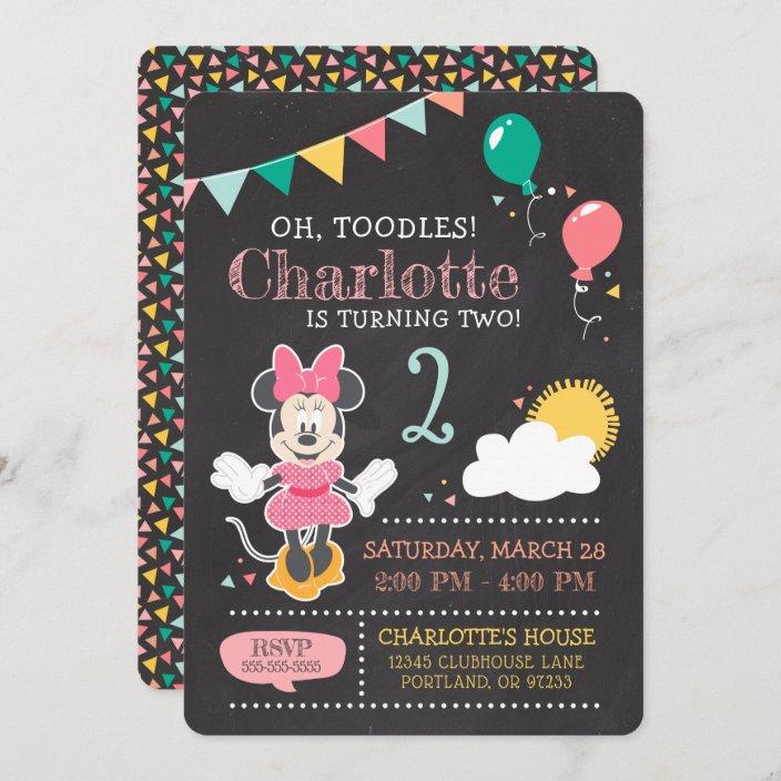 minnie mouse birthday chalkboard invitation zazzle com