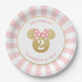 minnie mouse gold pink striped