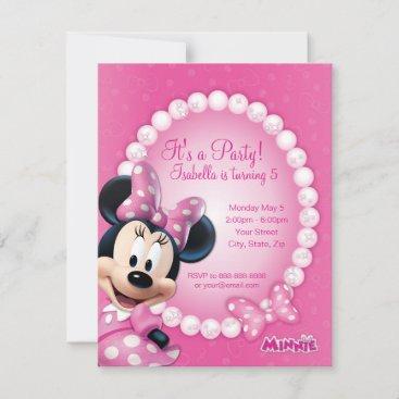 Minnie Pink and White Birthday Invitation