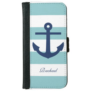 Mint and Blue Anchors Aweigh Wallet Phone Case For iPhone 6/6s