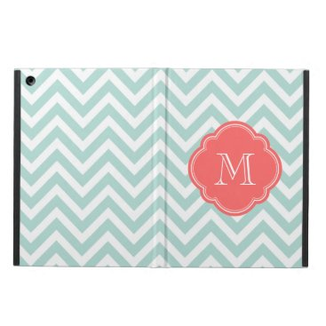 Mint and Coral Chevron Custom Monogram iPad Air Cover