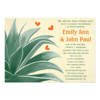 Mint and Coral Modern Succulent Wedding Invite