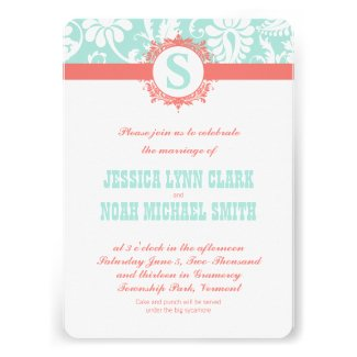 Mint and Peach Monogram Damask Wedding Invitations