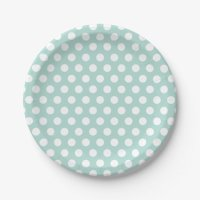 Mint and White Polka Dots Paper Plate | Zazzle