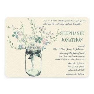 Mint Blush Pink Mason Jar Wild Flower Wedding Card