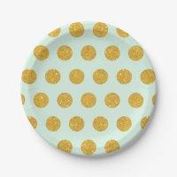 mint,gold,polka dot,trendy,girly,pattern,modern, 7 inch ...