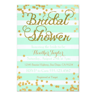 Mint Green And Gold Bridal Shower Invitation