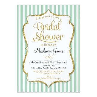 Mint Green Bridal Shower Invitation Elegant Stripe