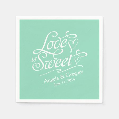 Mint Green Love is Sweet Candy Buffet Personalized Wedding Paper Napkin