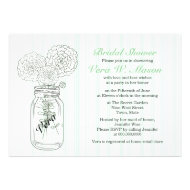 Mint Green Mason Jar Vintage Bridal Shower Invites